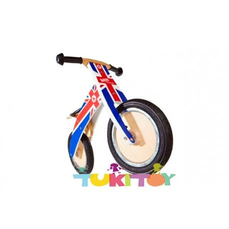 Bicicleta aprendizaje de madera Kiddimoto Kurve Union Jack #Kiddimoto  #bicicletas #sinpedales de madera #Kiddimoto son perfectas para el #aprendizaje. Estas #bicicletas desarrollan la #motricidad gruesa, el sentido del #equilibrio y la #coordinación. Les enseña a controlar el espacio aumentando su autoconfianza y #seguridad. Fabricada en madera resistente y ligera a la vez permitirá al #niño desplazarse sin mayor dificultad, el sillín es regulable a distintas alturas