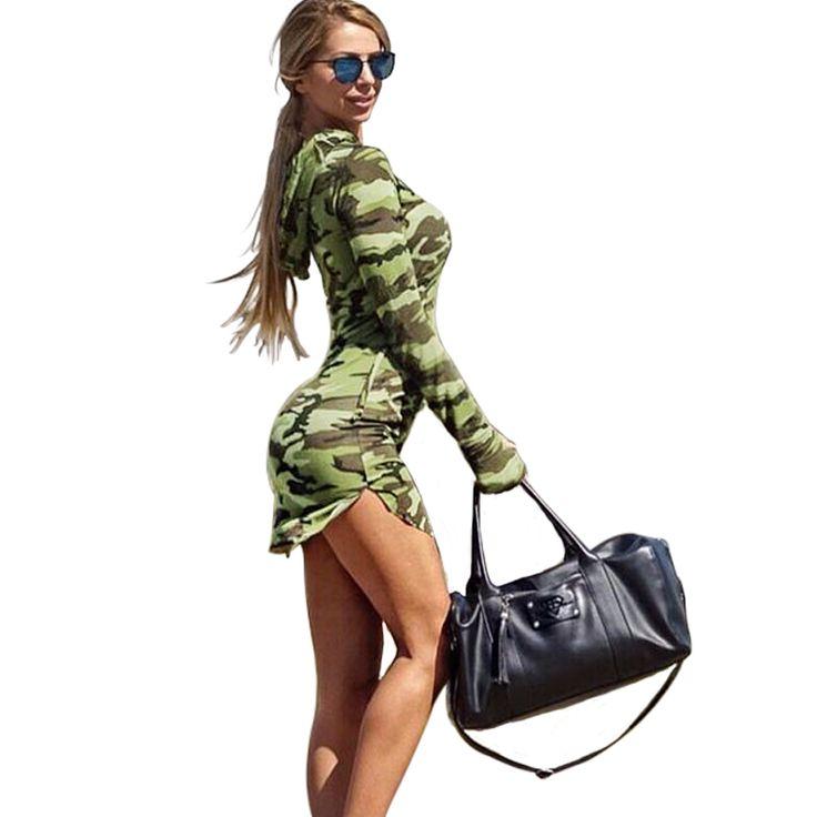 Goedkope Gagaopt 2016 Vrouwen Camouflage Leger Jurk Hooded Casual VS Jurk Lange Mouw Herfst Mini Slanke Jurk Bodycon Vestidos Femininos, koop Kwaliteit jurken rechtstreeks van Leveranciers van China: