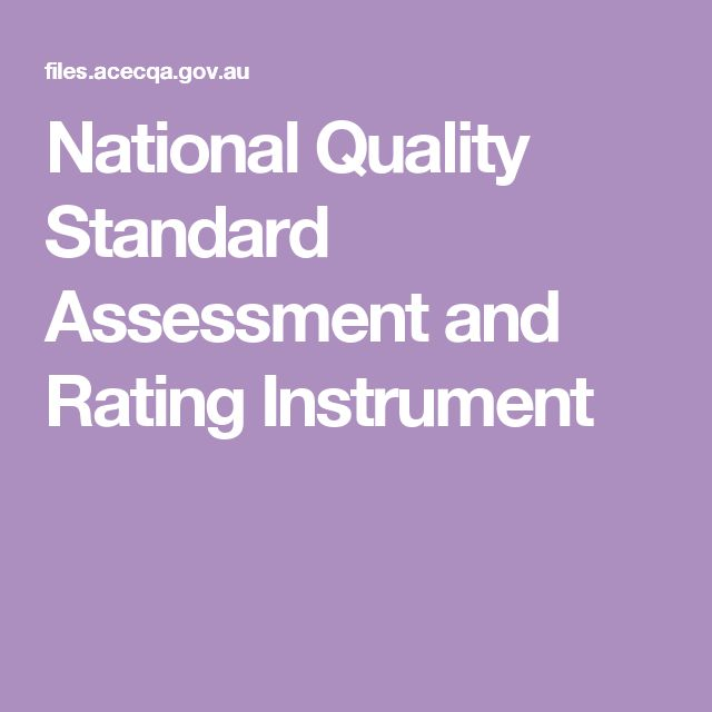 National Quality Standard Assessment and Rating Instrument