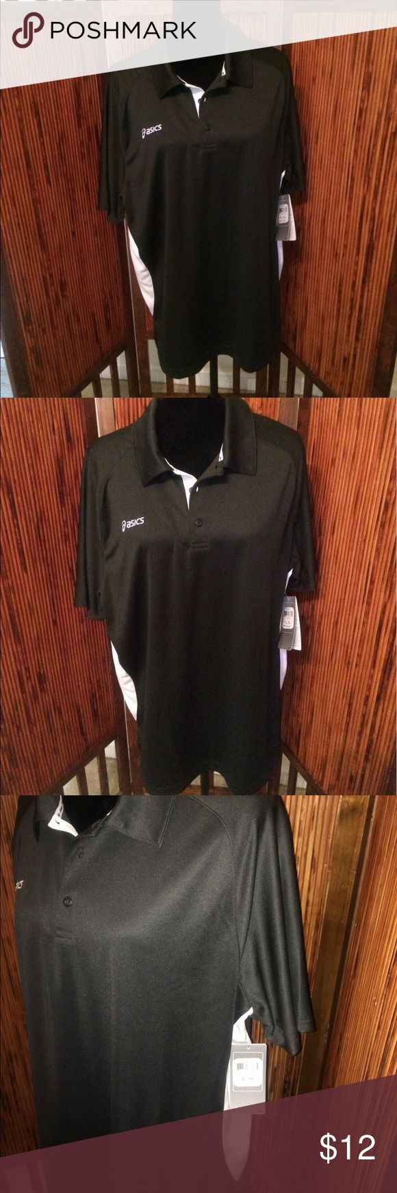 Asics Men's NWT Short Sleeved Shirt Size XL Asics Men's NWT Short Sleeved Shirt Size XL.  New with original tag attached.  Black color shirt with white accents.  100% polyester.  No flaws.  Comes from a smoke and pet free home.  Thanks for looking 😊 Asics Shirts Polos