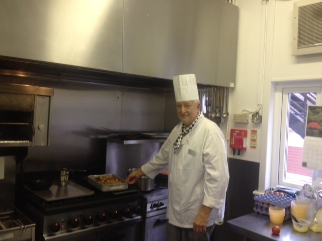 A hospital chef in action