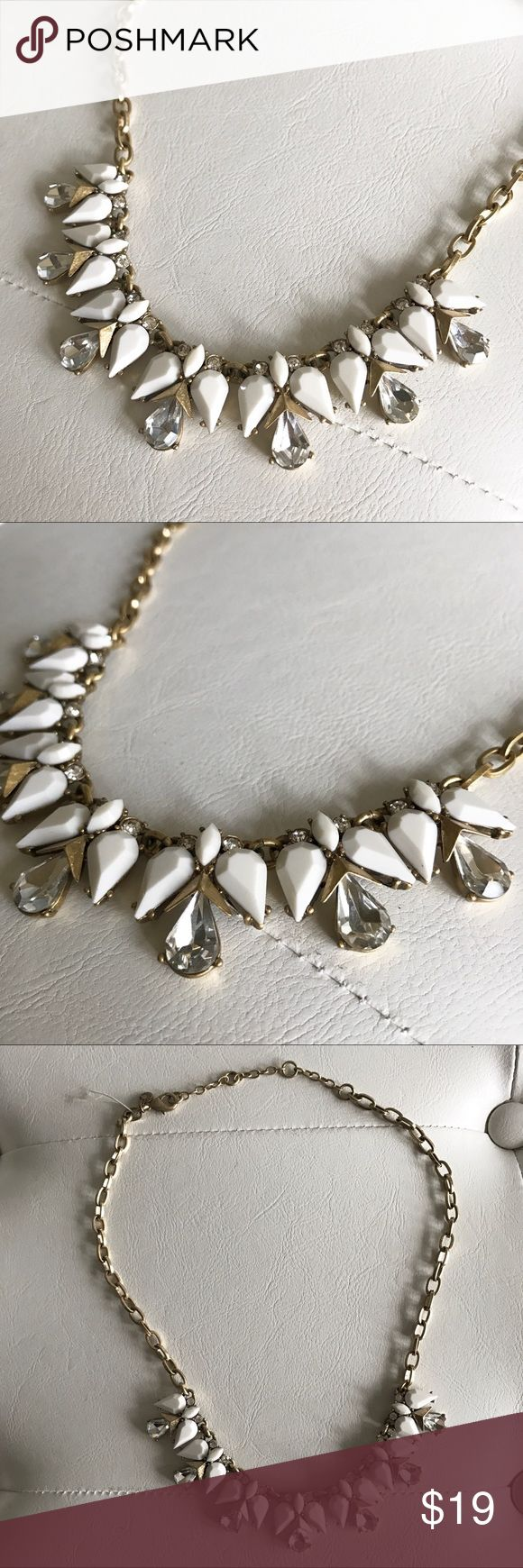 J.Crew Gold and White Statement Necklace Beautiful Statement Necklace - neutral colors that can be worn with any outfit. Never worn! J. Crew Jewelry Necklaces