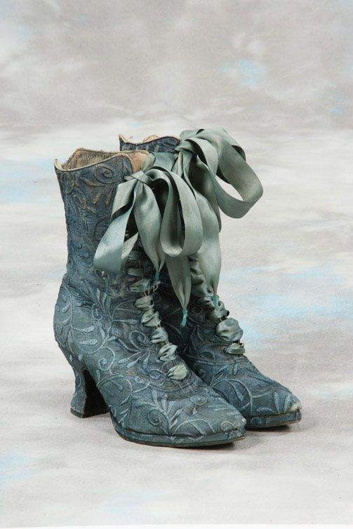 Victorian boots, tied with silk ribbons. American Duchess: Historical Costuming and sewing of Rococo 18th century clothing, 16th century through 20th century, by designer Lauren Reeser