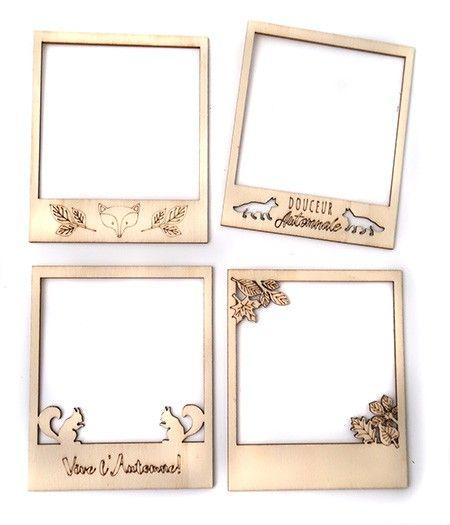 4 polaroids en bois brut Miel & Cannelle