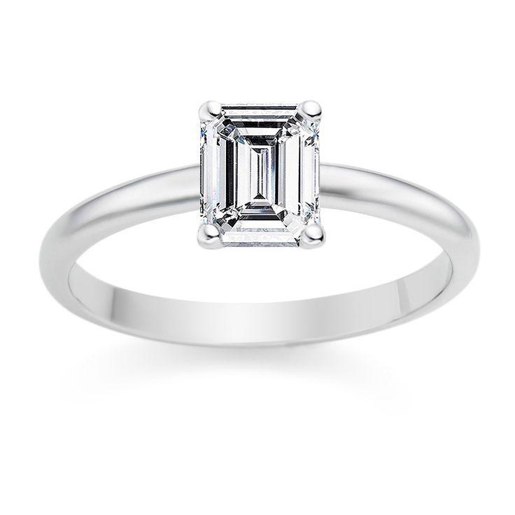 Emerald Cut 0.25 Carat D/VVS1 18k White Gold Diamond Engagement Ring £899 www.vashi.com