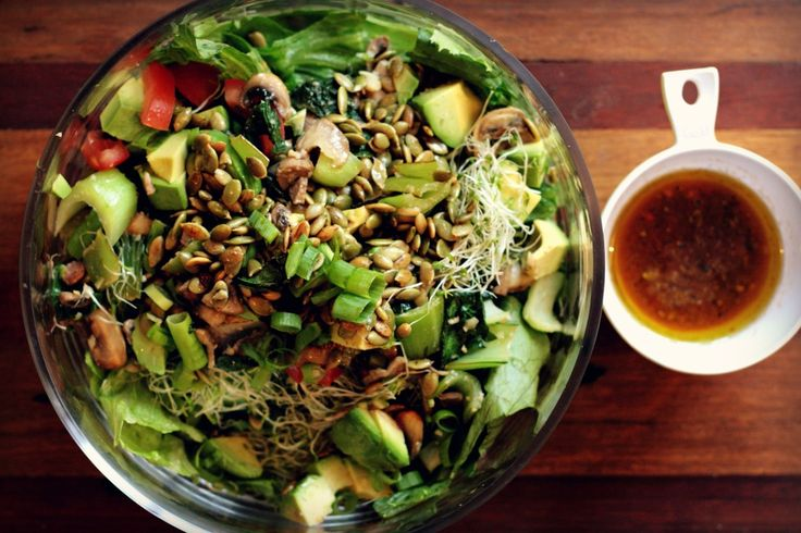 Throw together salad - alfalfa, kale, avocado, spring onion and toasted pumpkin seeds; with a dressing of lime (juice + rind), fresh chili, fresh coriander, cumin, white wine vinegar and avocado oil.