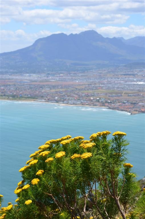 The Helderberg mountain - Somerset West's most well known beacon as seen from the Hottentots-Holland mountain range across False Bay (Cape Town).
