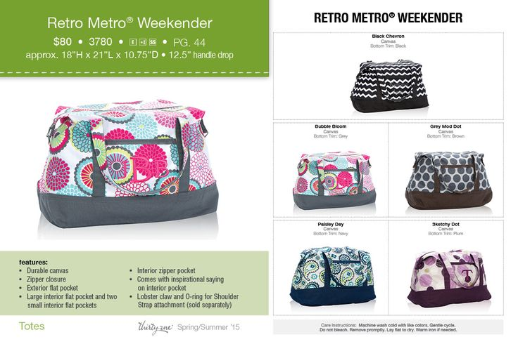 Retro Metro Weekender Spring-Summer 2015 www.mythirtyone.com/kklaus/ FB Group ThirtyOneKrisKlaus