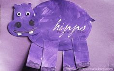 Purple Hippo Craft - great for letter H craft or the color purple.  ** Could have preschooler paint a purple page the 1st day.  Then teacher trace hippo template for kids to cut out and assemble the next day.