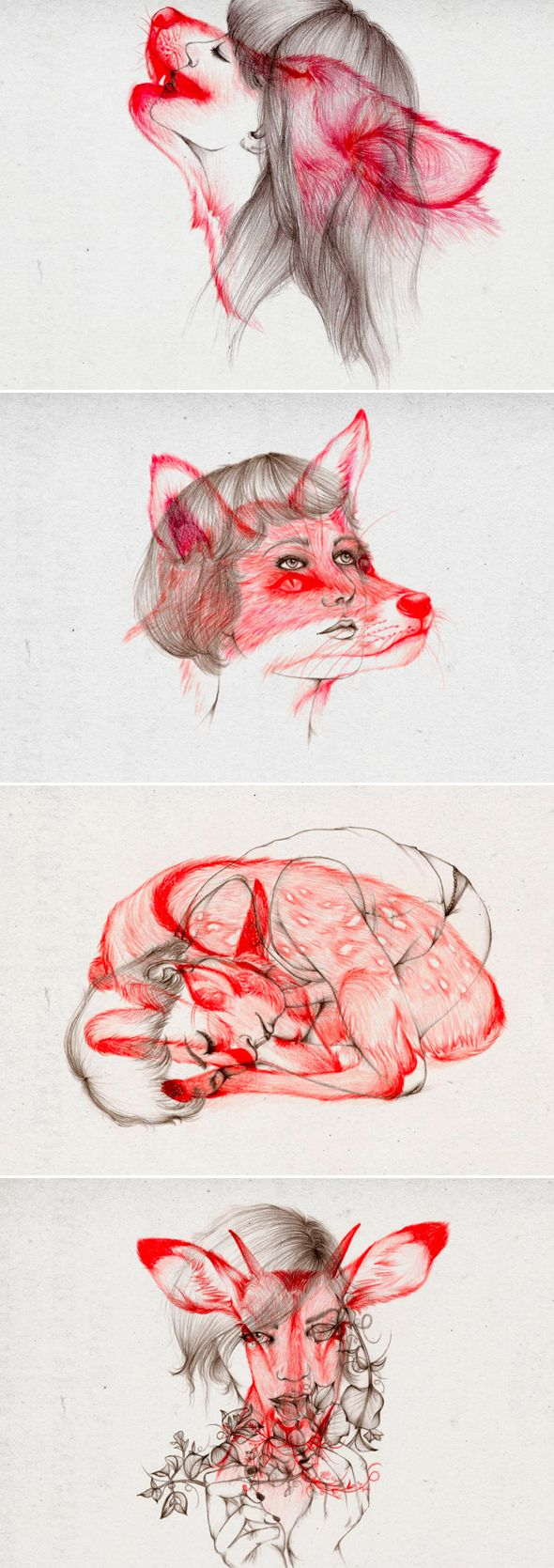 Girl drawings with woodland creatures overlaid    Illustrations-par-Peony-Yip-2 George B