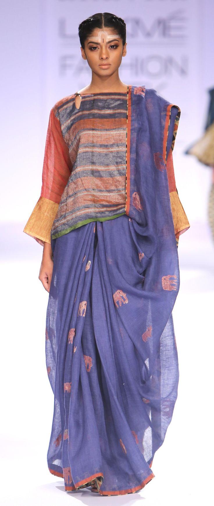 Animal Motif Jamdani linen sari