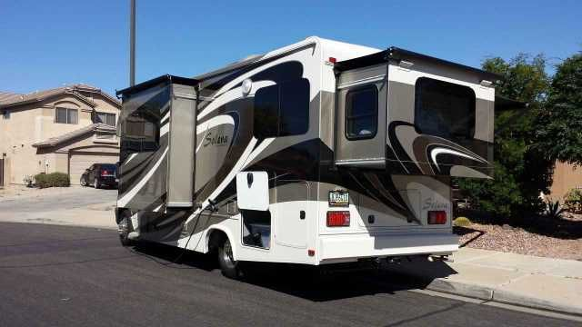 2015 Used Forest River Solera 24R Class C in Arizona AZ.Recreational Vehicle, rv, MUST SELL! PRICE REDUCED!!! ACTUALLY CLASS B+ as it sleeps up to four. Drove off lot and immediately put into covered storage. Unit had 1800 miles at deliver, and currently approx. 2300 miles. 3.0L V-6 Mercedes Benz, Turbo Diesel with estimated 18 mpg. 4200 lbs. Hitch w/7-pin Connector and Spare Tire. (2) Deep Cell Coach Batteries, 30 amp, 12V distribution panel and 30ft. Power Cord; 110V, GFI Protected…