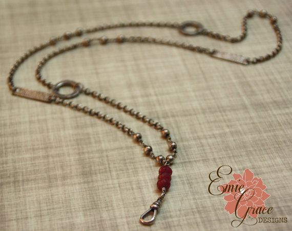 Sterling Silver and Ruby Lanyard Necklace, Badge Holder, Sterling Silver Hammered Beads, Hammered Rings, Silver Chain