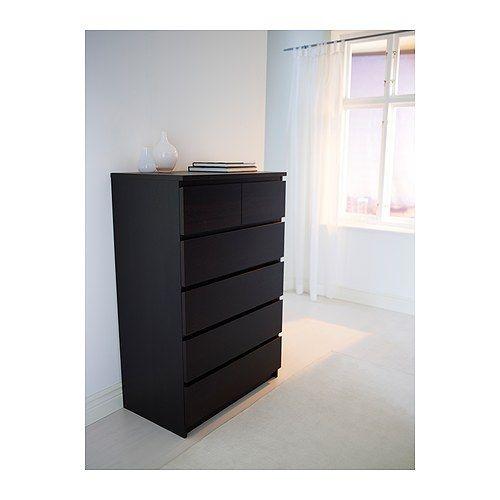 Malm commode 6 tiroirs brun noir chambres pinterest for Ikea chambre malm