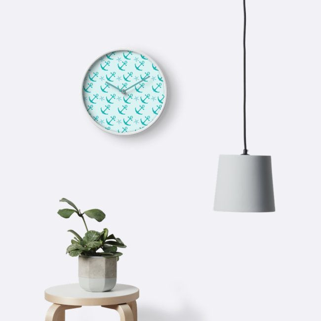 Flat illustration of nautical ship anchors pattern on a mint background. © Amalia Ferreira-Espinoza www.afeimages.ca #nautical #wallclock #anchors