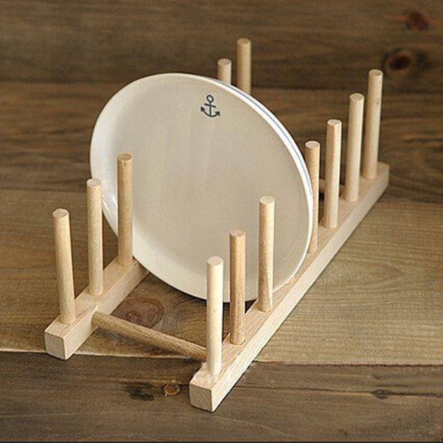Nuevo 1 unidades madera cocina utensilios de cocina de - Rack para platos ...