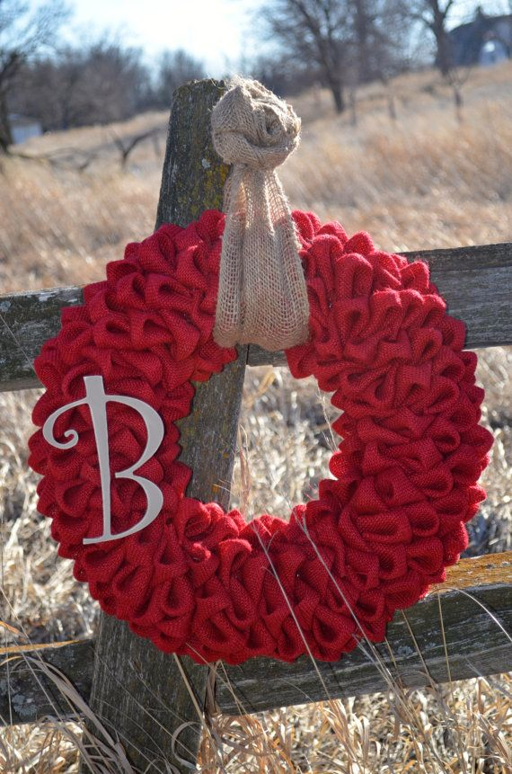 Hey, I found this really awesome Etsy listing at https://www.etsy.com/listing/126947525/red-burlap-monogram-rosette-wreath