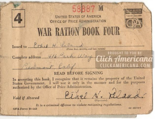 Ration stamps from WW2: War Ration Book 4