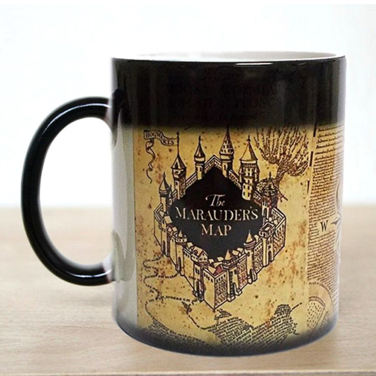 Envío libre! 1 Unids Marauders Mapa de Harry Potter Magia Caliente Frío Calor Sensible A la Temperatura Que Cambia de Color Café Té taza, Taza de leche