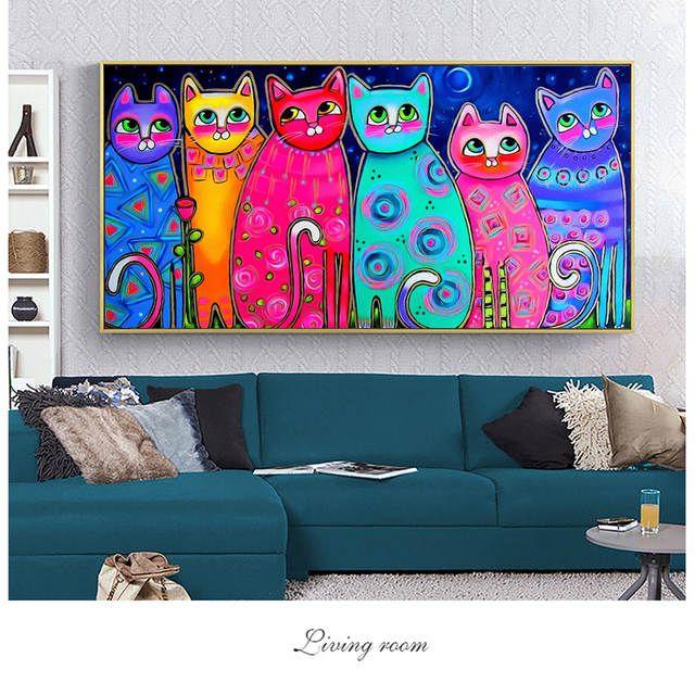 Pinturas coloridas de la lona de los gatos para la pintura de Cuadros de la lona de la pared de la habitación de los niños