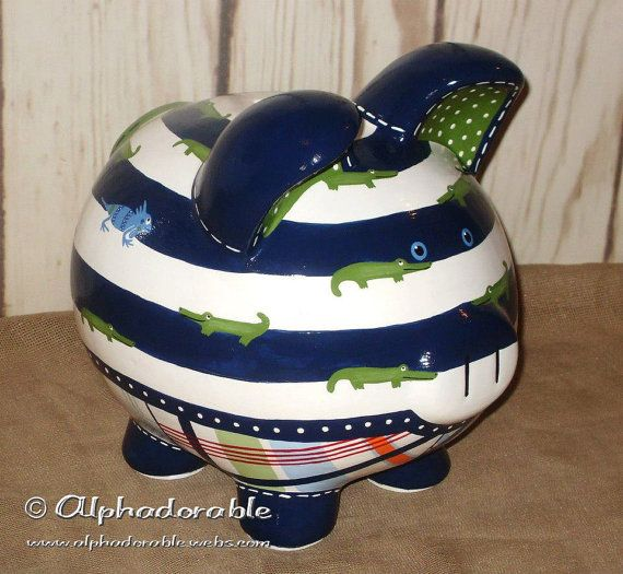 "Custom, hand painted ceramic personalized piggy bank Alligator Madras by Pottery Barn design Large 9"" on Etsy, $89.00"