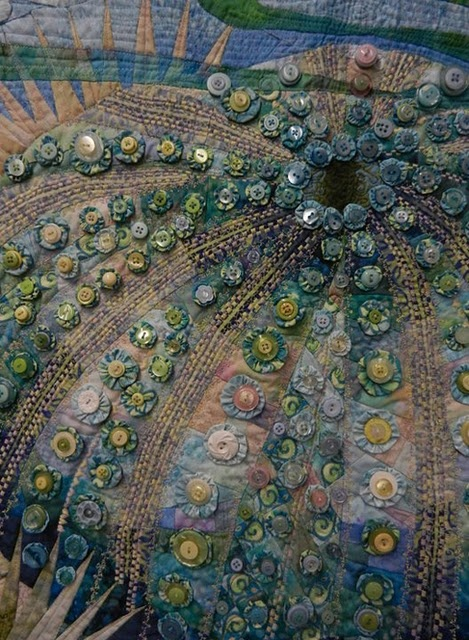 Sea urchin quilt using buttons.