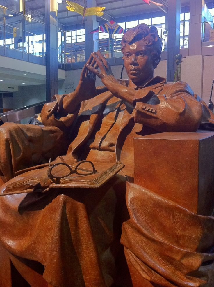 Barbara Jordan at the Austin, Texas  airport  --  The first, life sized statue of the late Barbara Jordan resides in the Austin-Bergstrom International Airport. Created by California artist Bruce Wolfe, the bronze sculpture depicts Jordan seated, in deep thought, with her finger tips pressed together; her glasses and a book placed in her lap.