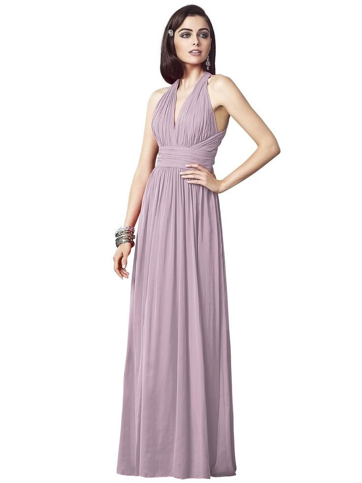 Beautifully detailed with ruched accents for added texture and surface interest, the Dessy 2908 bridesmaid dress offers an ultra-glamorous look in a timeless halter silhouette.