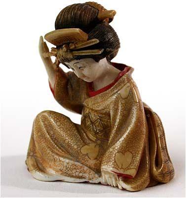 Antique Meiji Polychrome Netsuke Geisha Removing Hair Pin Signature: Hoyuki, Circa: late 19th Century