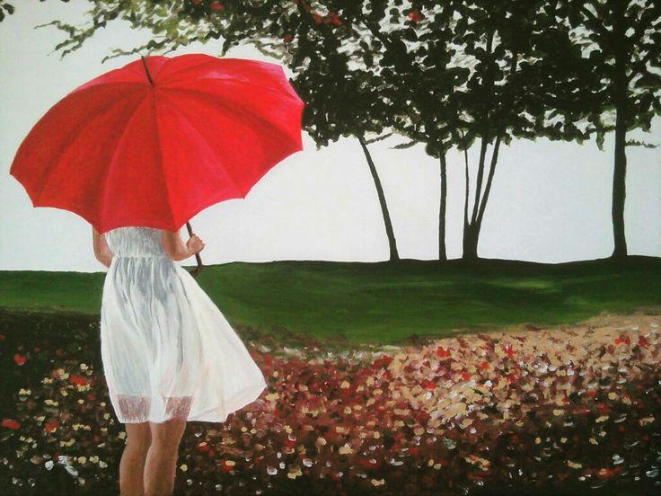 Κοπέλα με κόκκινη ομπρέλα