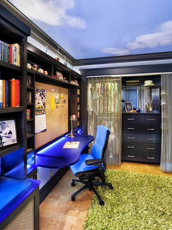 Charming Inspiring Tween Boy Bedroom Ideas With Cool Design : Cool Teen Boys Bedroom  With Cork Board At Desk, Wall And Ceiling Murals Also Green Grass Carpet Part 19