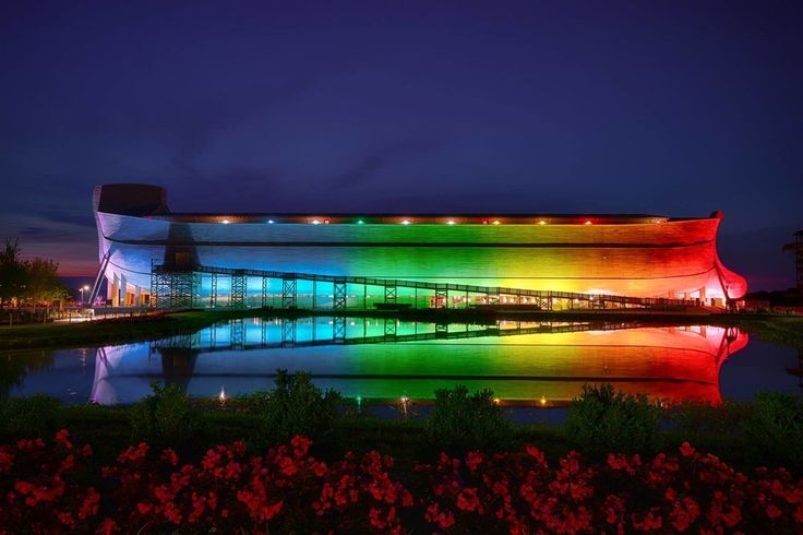 """""""We now have new permanent rainbow lights at the Ark Encounter so all can see that it is God's rainbow and He determines its meaning in Genesis 6,"""" Answers in Genesis founder Ken Ham announced on Facebook.   """"The rainbow is a reminder God will never again judge the wickedness of man with a global Flood—next time the world will be judged by fire,"""" he said."""
