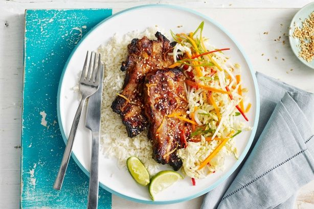 Get your taste buds excited with these deliciously sticky sweet chilli and ginger glazed pork ribs served with Asian slaw.