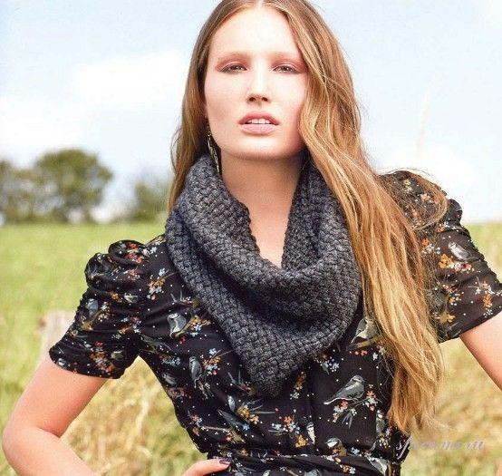 Схемы и узоры вязания шарфа хомута