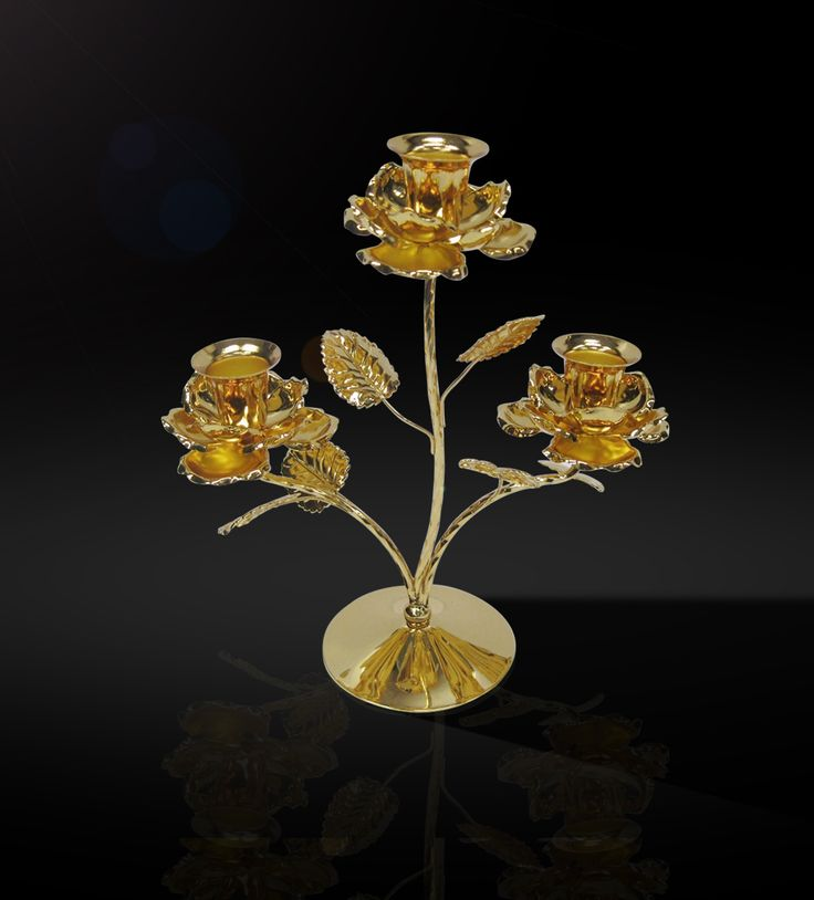 Candle Stand 3-Roses  24 carat gold-plated candle holder with 3-arm roses is a luxurious piece in itself.  http://www.thedivineluxury.com/product/Candle-Stand-3-Roses.html