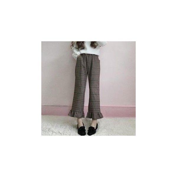 Ruffle Hem Plaid Straight-Cut Pants ($23) ❤ liked on Polyvore featuring pants, women, plaid pants, tartan pants, frill hem trousers, straight trousers and straight pants