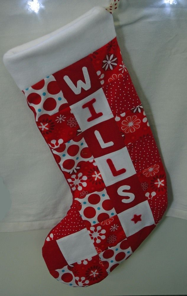 Personalised patchwork stockings £18.00