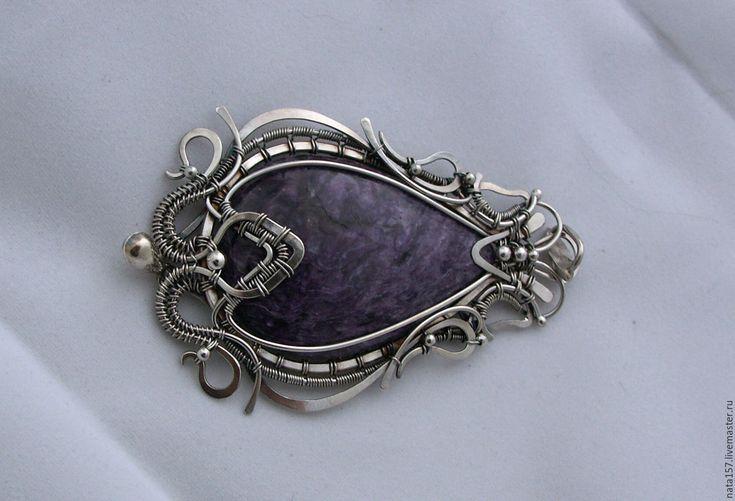 Купить Кулон Чароитовая лилия - кулон, кулон из серебра, подвеска, серебряный кулон, кулон с чароитом