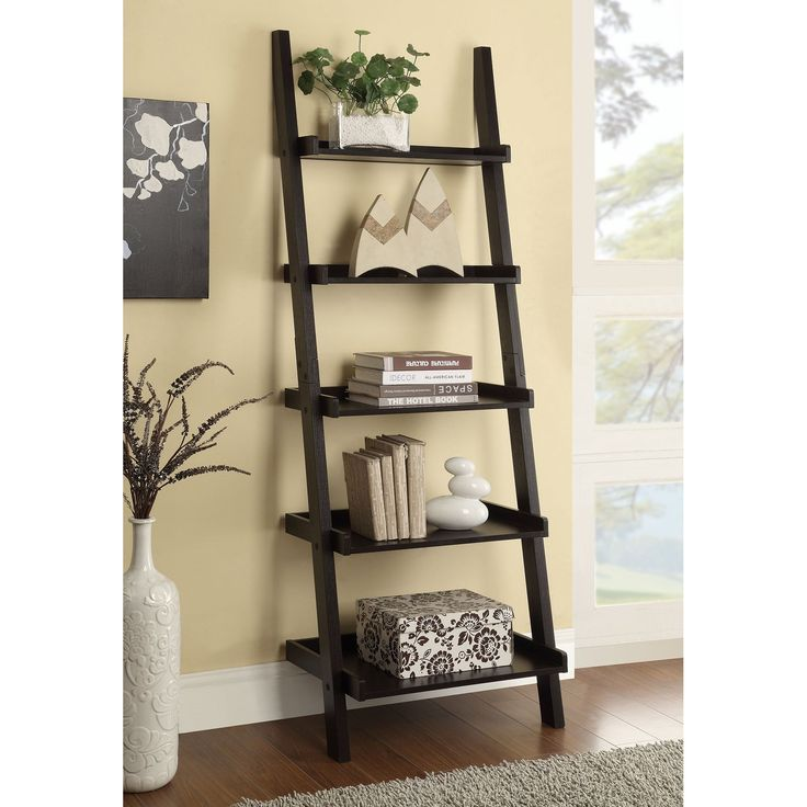 Coaster Furniture Ladder Bookcase - The Coaster Furniture Ladder Bookcase leans against the wall with a ladder-like design, and each shelf increases in size as it angles downward....
