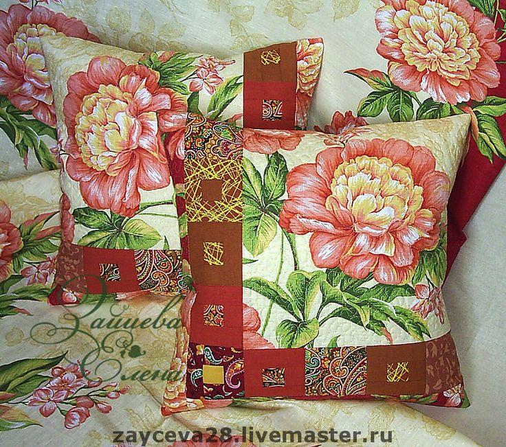"""Купить Лоскутная подушка """"Розовый пион"""" - декоративная подушка, подушка, лоскутная техника, лоскутная подушка"""