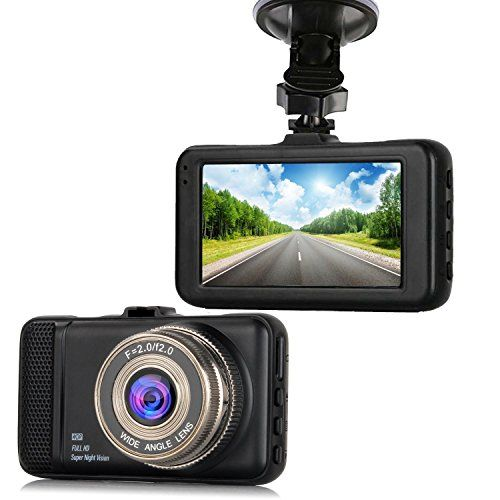 "Dash CamEVASA 150 Wide Angle Full HD 1080P with G-SensorNight VisionWDRLoop Recording3.0"" LCD Dashboard Camera Recorder"