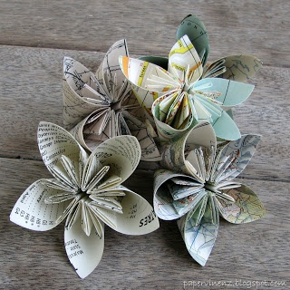 PaperVine  Map folded flowers with tutorial
