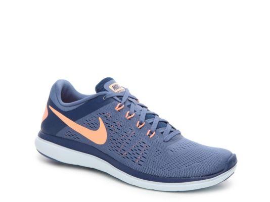 Women's Nike Flex 2016 RN Lightweight Running Shoe - - Blue/Peach