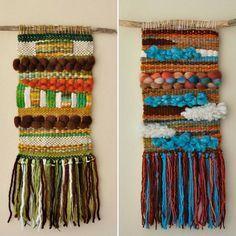 Telares colgantes, diferentes diseños, colores y texturas  #telar  #weaving #handmadewool #telaresdecorativos