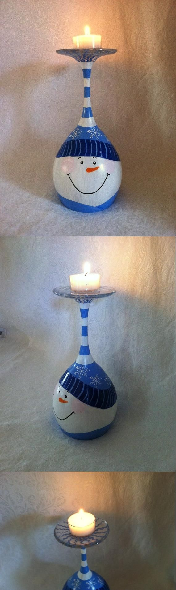 Snowman Candle Stand - Just in time for winter, this unique candle stand is hand painted on an up-side-down wine glass. Perfect for decorating a wine bar or lighting up a space in your home with a smiling snowman. Painted with non-toxic acrylic glass paint and heat set to preserve the design. Tea light included. ($20.00)