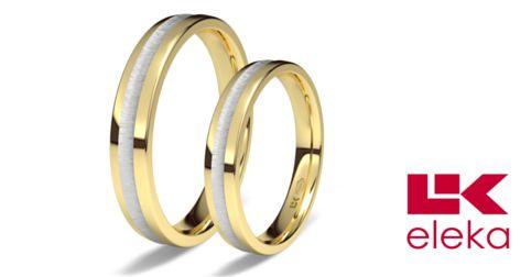 Alianza de oro blanco y amarillo de 18K modelo Dos colores satinada en blanco 3,5 mm de calibre #alianzas, #anillosdeboda, #boda, #novias www.cnavarro.com