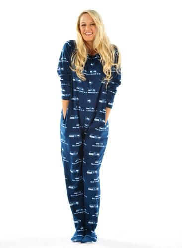 Women's 1 piece PJs Seattle seahawks onsie!! !ahhhh!! I love if only I wasnt so hot all the time !