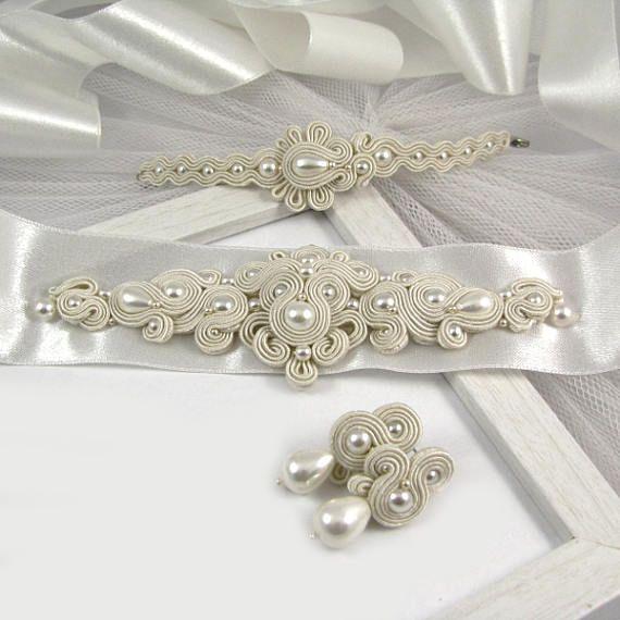 Wedding dress belt pearl bridal jewelry set wedding earrings