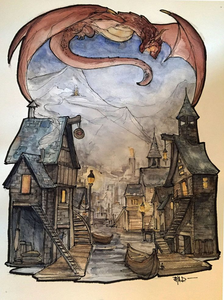 Watercolor Sketch ~ Smaug over Laketown by Harpokrates on DeviantArt