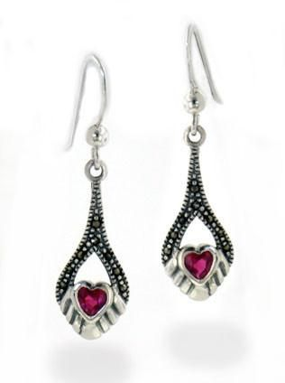 Marcasite and Synthetic Ruby Graduated Heart Drop Sterling Silver Earrings